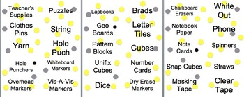 Classroom Labels Yellow, Black & Gray Polka Dots - Math, Supplies, Etc....