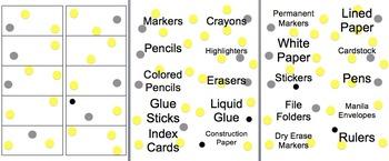 Classroom Labels Yellow, Black & Gray Polka Dots - Math, Supplies, Etc....