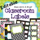 Classroom Labels and Binder Covers EDITABLE Black, White &