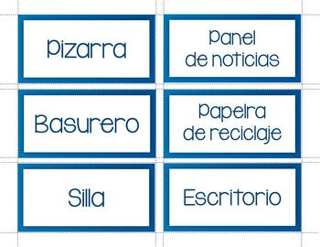 Classroom Labels and Cards in Spanish