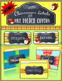 Classroom Labels and File Folder Covers- Chalkboard and Apples Theme