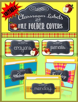 Classroom Labels and File Folder Covers- Chalkboard and Ap