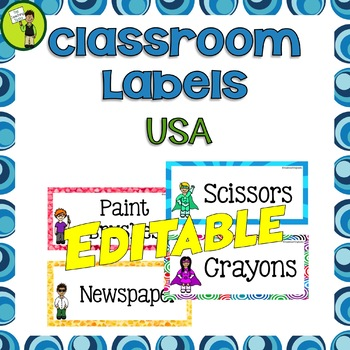 Classroom Labels and Signs - EDITABLE USA