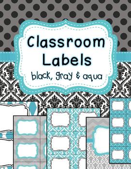 Classroom Labels and binder covers EDITABLE black, gray, aqua