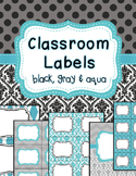 Classroom Labels and Binder Covers Spine Labels EDITABLE black, gray, aqua