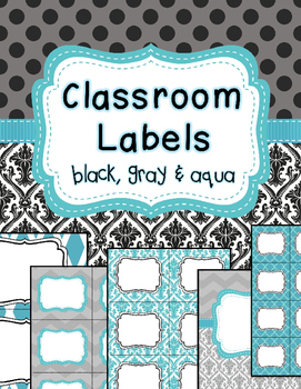 Classroom Labels and binder covers EDITABLE black, gray, aqua