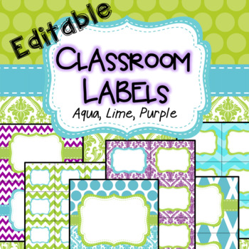 Classroom Labels and binder covers Spine Labels EDITABLE purple, lime, aqua
