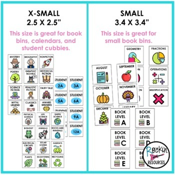Classroom Library Labels and Calendar Cards - 4 Editable Sizes