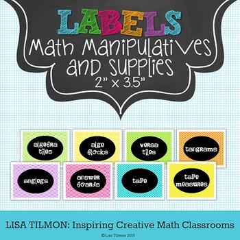 Math Manipulatives Labels (2 in x 3.5 in)