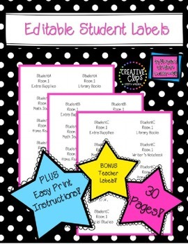 Classroom Labels for Notebooks Duotangs Journals Supplies and YOU!