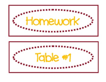 Classroom Labels for Organization:  Garnet and Gold