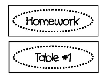 Classroom Labels for Organization:  Black and White