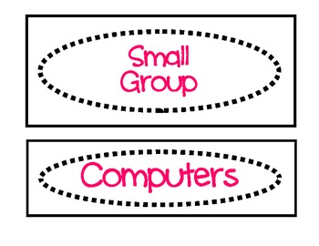 Classroom Labels for Organization:  Pink and Black