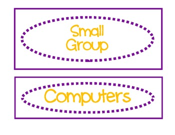 Classroom Labels for Organization:  Purple and Gold
