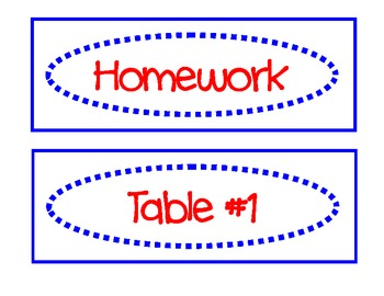 Classroom Labels for Organization:  Blue and Red