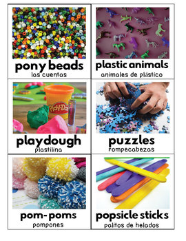 Classroom Labels for Pre-K and UP - Real Photos - ENGLISH & SPANISH