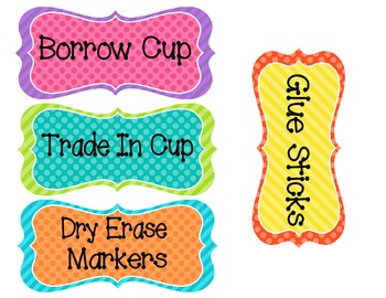 Classroom Labels for School Supplies