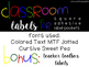Classroom Labels for Square Adhesive Label Pockets
