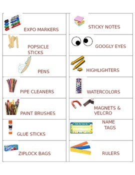 Editable Classroom Labels for Supplies