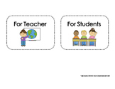 Classroom Labels for Teacher and Student Baskets