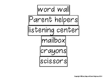 Classroom Labels for a Print-Rich Environment