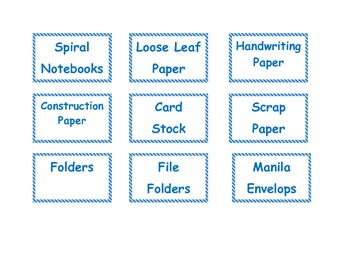 Classroom Labels for supplies