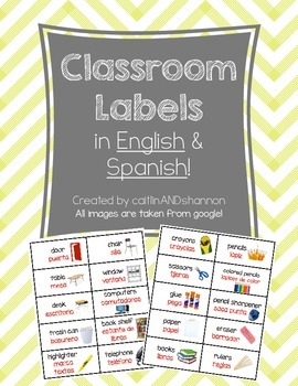 Classroom Labels in BOTH English and Spanish