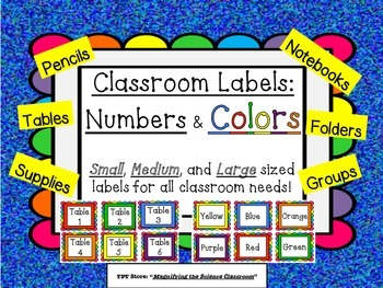 Classroom Labels in Numbers and Colors with a Rainbow Fram