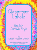Classroom Labels - in English, Cursive style