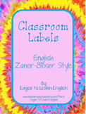 Classroom Labels - in English, Zaner-Bloser style