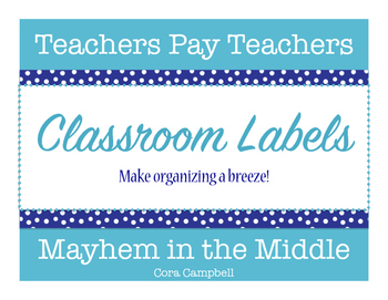 Classroom Labels in Navy & Teal