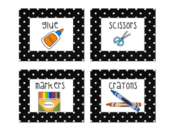 Classroom Labels in Polka Dot Print Organization Centers Bulletin Board Supplies