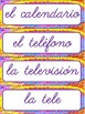 Classroom Labels - in Spanish, Cursive style