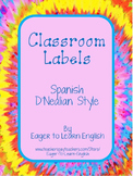 Classroom Labels - in Spanish, D'Nealian style