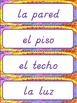 Classroom Labels - in Spanish, D'Nealian style