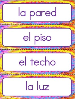 Classroom Labels - in Spanish, Zaner-Bloser style