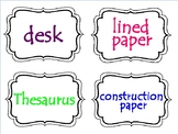 Classroom Labels in White