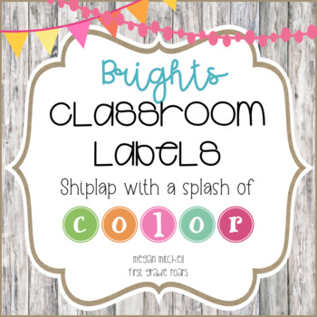 Classroom Labels in a Bright Bunting Theme with Shiplap