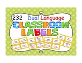 DUAL LANGUAGE Classroom Labels in yellow polka dots
