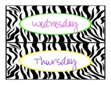 Zebra Classroom Labels (Days of the week and subjects) FREE
