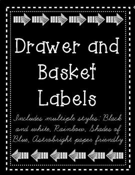 Classroom Labels- rainbow, b/w, shades of blue