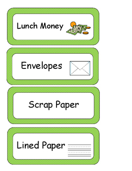 Classroom Labels with Green Polka Dots