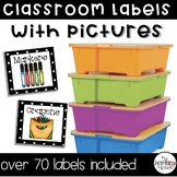 Classroom Labels with Pictures Black and White