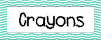 Classroom Labels -- Aqua Chevron