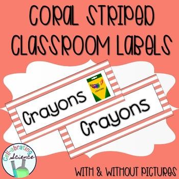 Classroom Labels -- Coral Stripes