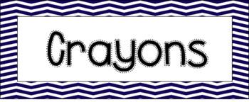 Classroom Labels -- Navy Chevron