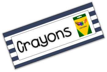 Classroom Labels -- Navy Stripes