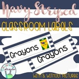Classroom Labels -- Navy Stripes