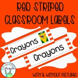 Classroom Labels -- Red Stripes