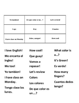 Classroom Language Bilingual Bingo